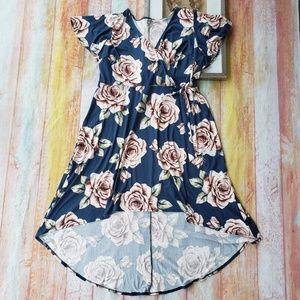 Floral Faux Wrap Knit High Low Midi Plus Dress 3X